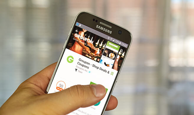Groupon deal shared on a smartphone