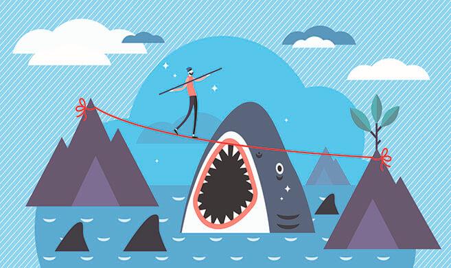 a man in balance on a thread over a shark -  vectorMine on adobe stock