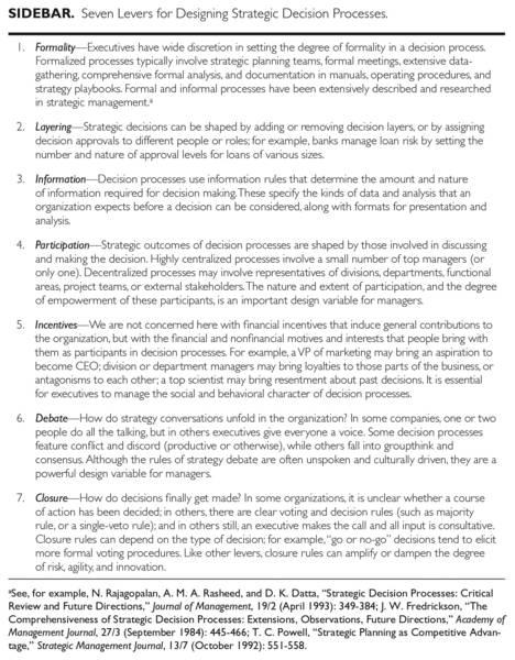 7 levers to designing strategic decision processes