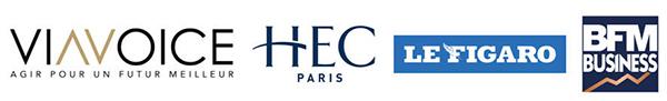 logos Viavoice - HEC Paris - Le Figaro - BFM