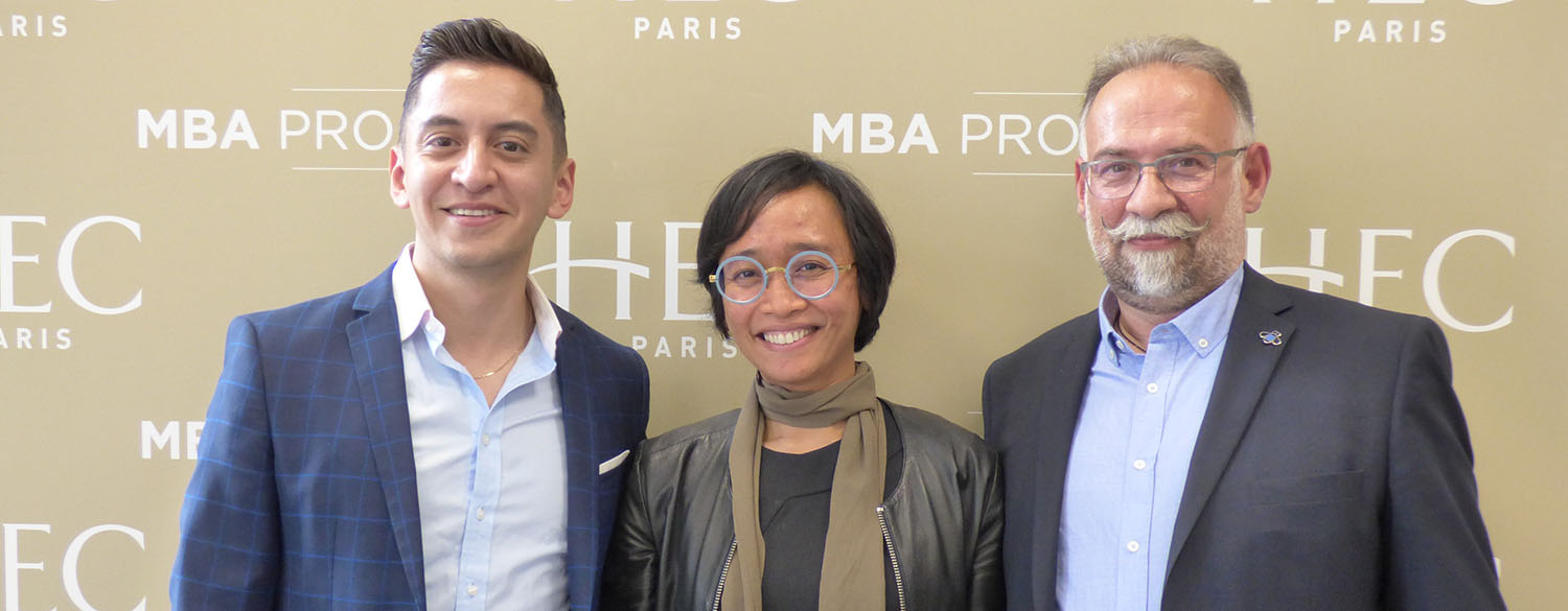Luis with two panelists, Putri Realita (Danone) and Jean-Louis Carvès (IBM). Photo by Courtnay Wheeler