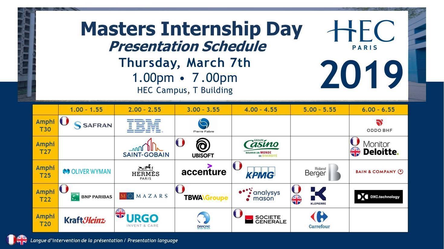 Masters Internship Day Schedule