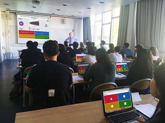Kahoot Quiz in Finance classrom by Olivier Bossard
