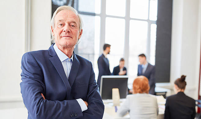 old confident executive man