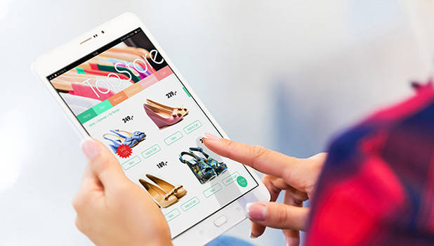 someone shopping online on a smartphone vignette
