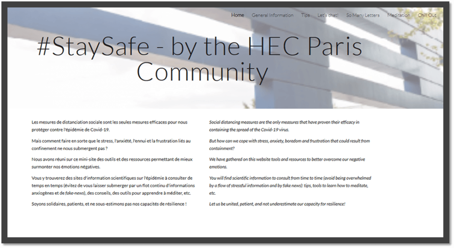HEC Paris- Collaborative website #StaySafe