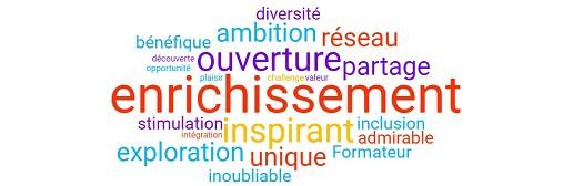 Nuage de mots récoltés auprès des participants aux H.Académies