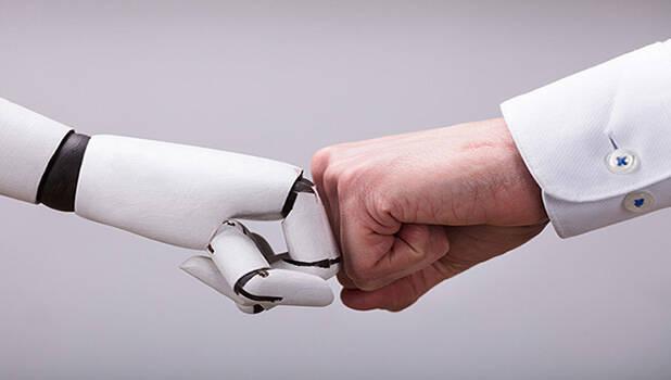 robot and human hands team vignette