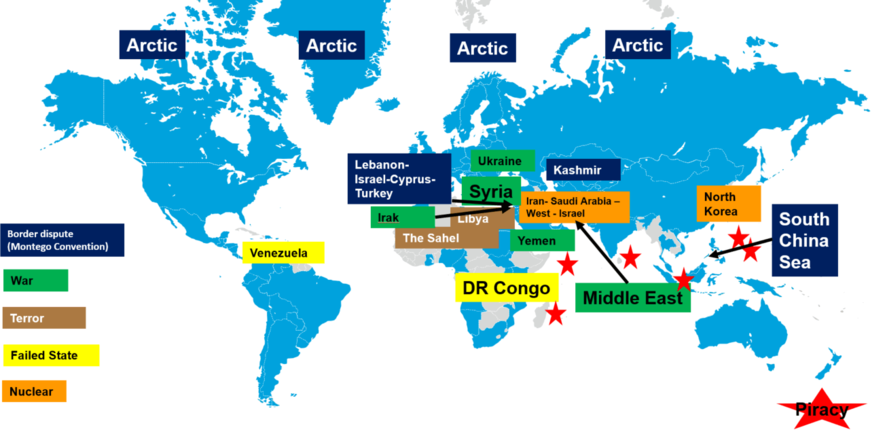 ongoing conflicts on the world map by Jean-Michel Gauthier