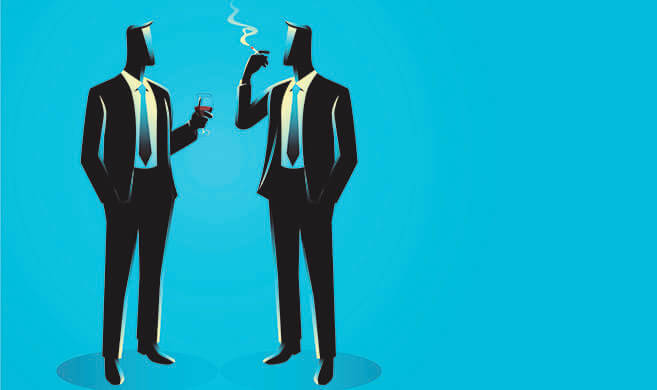 two men in suit talking while drinking and smoking - rudall30-adobestock