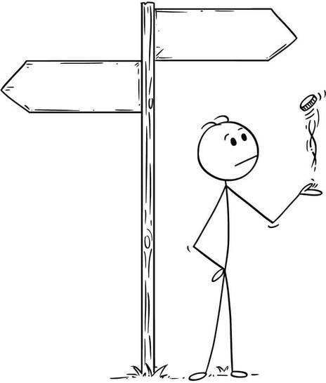 stick drawing of someone tossing a coin - Zdenek Sasek on AdobeStock