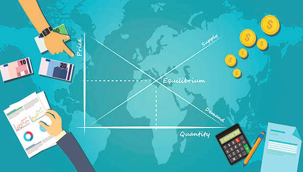 market equilibrium graph on a world map - aa amie on adobe stock