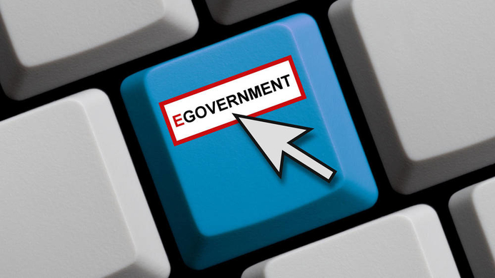 e-Government touch on a keyboard