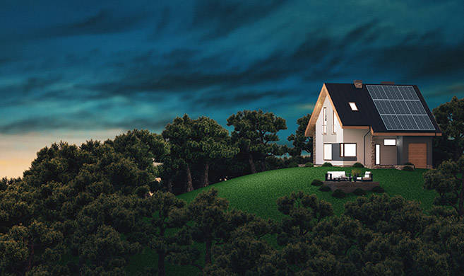 House on a hill with renewable energy - ALDECAstudio