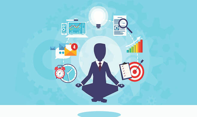 man in suit meditating in the middle of messaging technologies - Feodora-AdobeStock