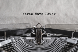 "©gerasimov174- A typing machine with ""Words have power"""