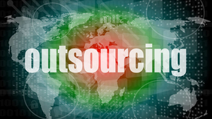 """outsourcing"" word on a world map"