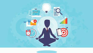 man in suit meditating in the middle of contact technologies
