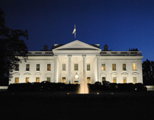 The White House in Washington, by night.
