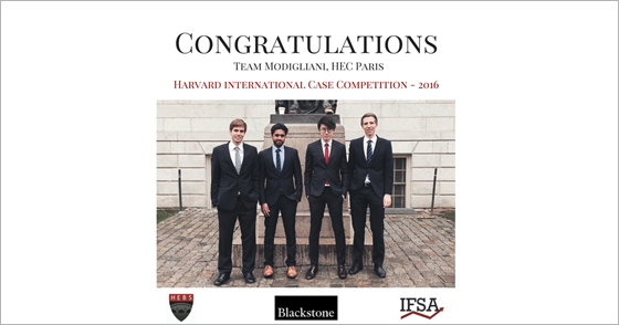HEC Paris win 2016 Harvard International Finance Competition - Harvard Extension Business Society (HEBS)