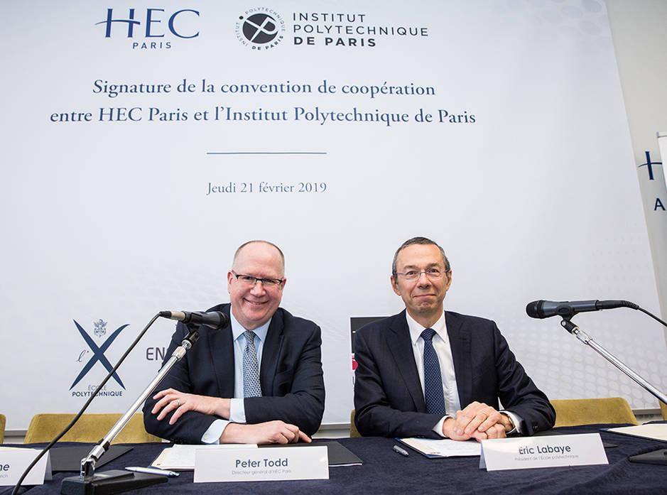 Signature convention HEC-IP Paris - E. Labaye et P. Todd