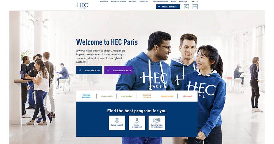 HEC Paris website homepage