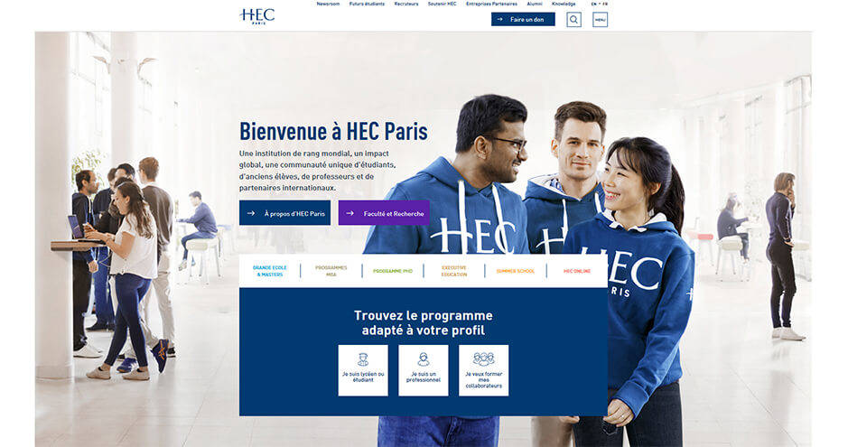 HEC Paris website homepage